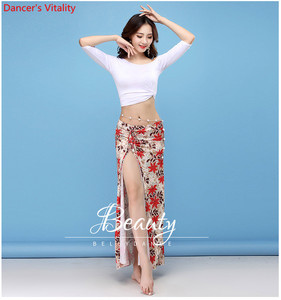 Image 3 - New Dance Wear Women Class Wear Silk Ice Fabric Stretchy Off shoulder Sleeves Classic Belly Dance Skirt Costume Set