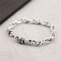 S925 Sterling Silver Twisted Twist Retro Personality Thai Silver Bracelet Men And Women Models Birthday Gift