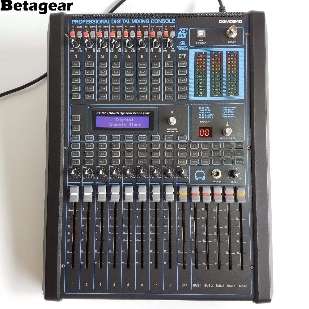 Betagear Professional digital audio mixing console 8 Channel audio mixer profissional audio equipments digital mixing desk live