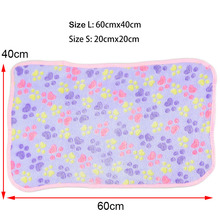 Warm Pet Blanket Sleeping Beds Cover Mat For Small Medium Dogs Cats Soft Flannel Fleece Cat Dog Bed Mats Paw Foot Pattern