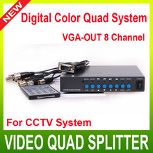 8CH VGA-OUT Digital Color Video Quad Splitter Processor BNC Switcher for CCTV Security System