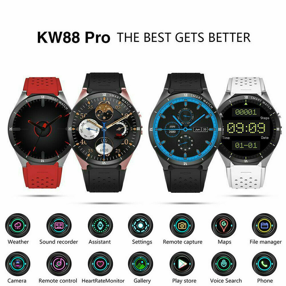 KW88 PRO Smart Watch Android 7.0 16GB Bluetooth Heart Rate WIFI GPS SIMKW88 PRO Smart Watch Android 7.0 16GB Bluetooth Heart Rate WIFI GPS SIM