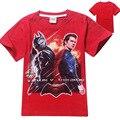 Супермен бэтмен войны детей Мужского Пола от 4 до 12 лет Чистого хлопка детская одежда оптом детская с коротким рукавом футболка
