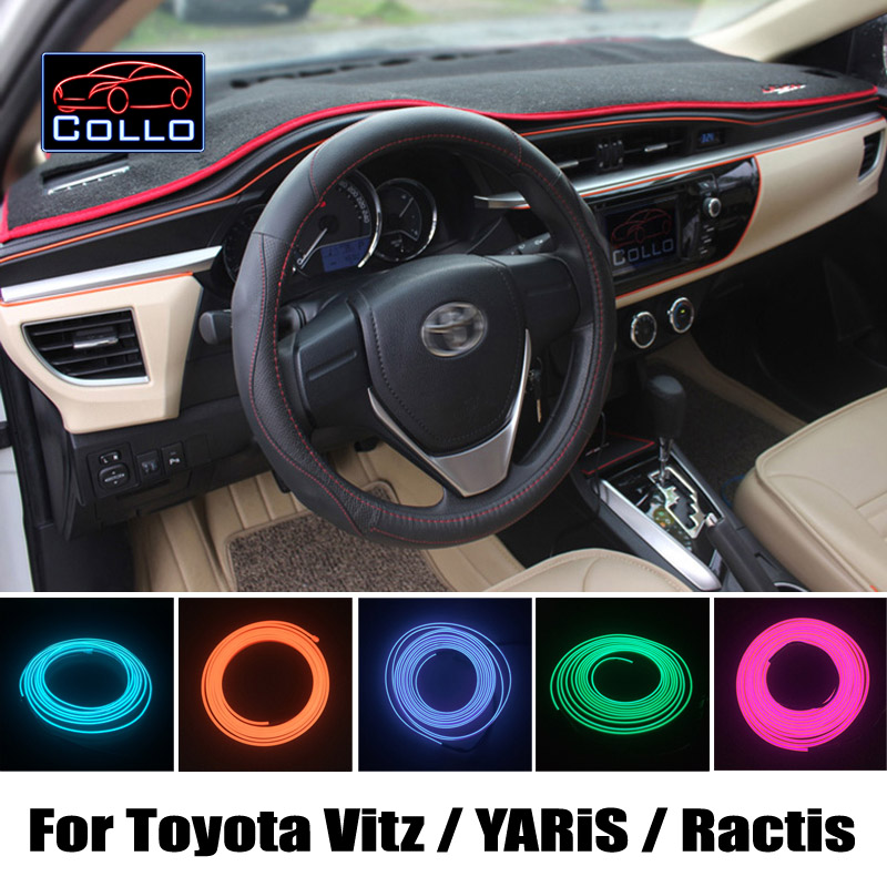 Newest Car Decoration Cold Light Atmosphere Lamp 9 Meter EL Wire For Toyota Vitz / Echo / YARiS / Ractis / Verso-S / Space Verso 84820 52090 power window master switch assy for toyota echo verso yaris 8482052090