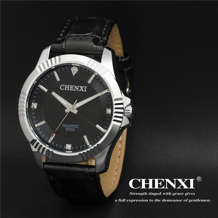 100% New Arrival CHENXI Classic Diamond Crystal Leather Quartz Wristwatches Wrist Watch for Men Gentlemen Black 050A OP001