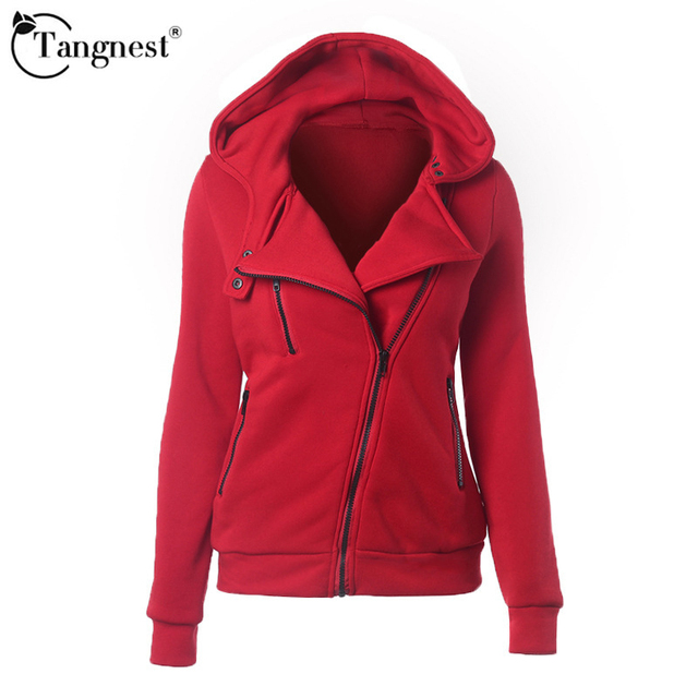 TANGNEST Women Spring Jacket Zippers Regular 2017 Causal Solid Color Lovely Style New Fashion Women Hooded Coat WWW801