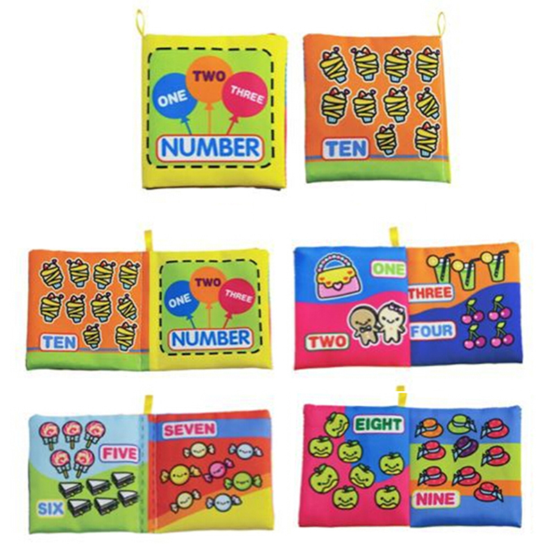 Baby Intelligence Development Cloth Book Toy Soft Rattles Unfolding Activity Quiet Books Cute Animals Story Books Toys Rattles