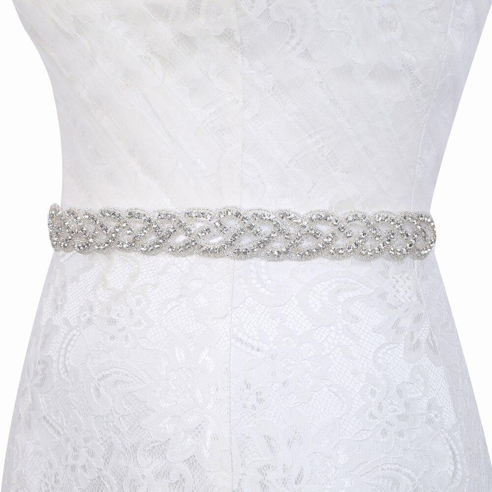Inofinn 104# Handmade Crystal Wedding Belts Satin Rhinestone Wedding Dress Belt Wedding Accessories Bridal Ribbon Belts
