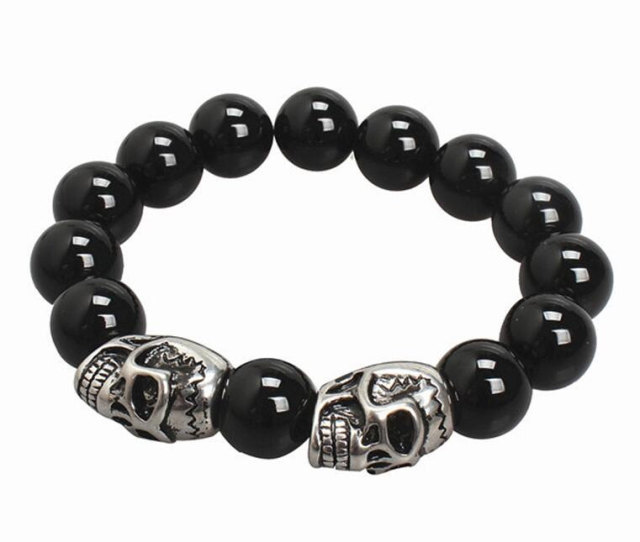 hollywood bracelet onyx and mens silver skulls bead tribal products king cross baby by black