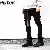 HIPFANDI Mais Novo Hip Hop Homens temor de deus nevoeiro justin bieber estilo skinny slim longos zíperes tarja calças basculador em kanye west