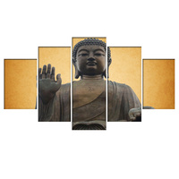 HD Printed 5 Piece Canvas Buddha Art Modular Painting Wall Pictures For Living Room Modern Frame
