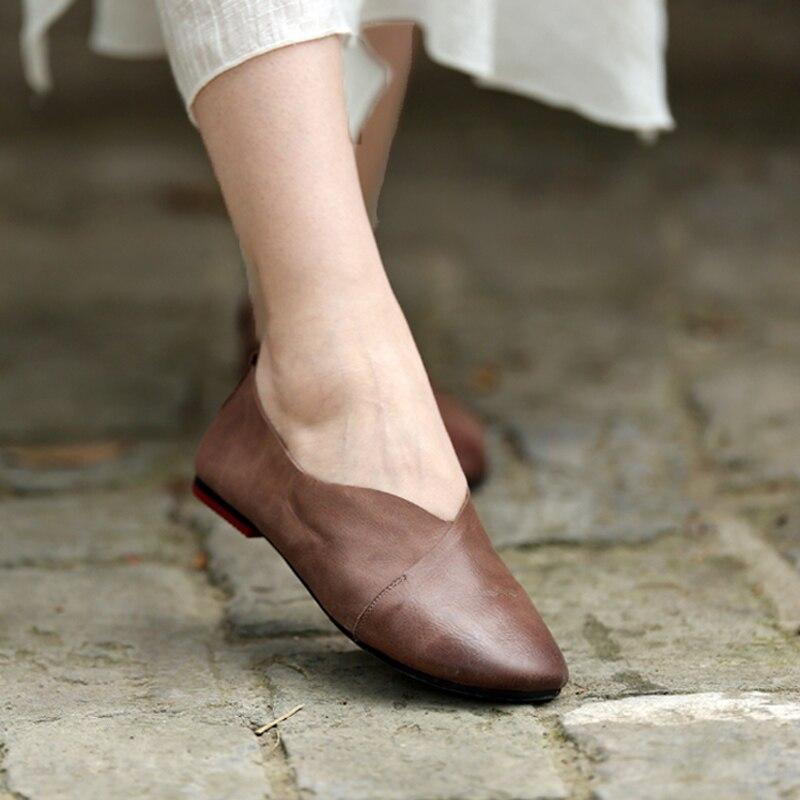 Cuir À Main Tayunxing Casual Profonde Chaussures Slip En on Vache La 1 Appartements Femmes 216 Doux Peu Véritable Confort 1r1EXt