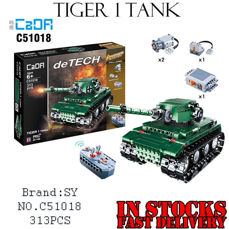 Military Weapons Technic Creator 51018 313PCS RC Tiger 1 Tank Building Blocks Bricks tamiya toys for children gifts brinquedos 8 in 1 military ship building blocks toys for boys