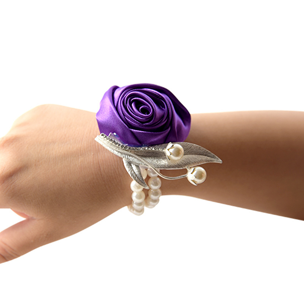 Silk Flower Bracelet Prom Hand Flowers Wedding Bride Bridesmaid