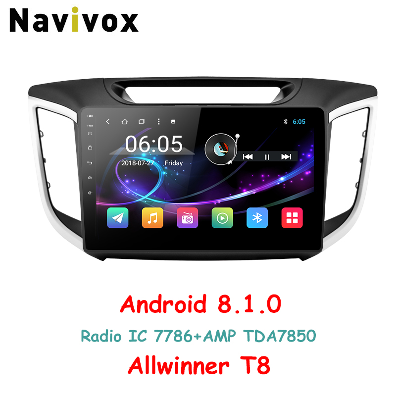 Navivox 10.1 2 Din Voiture lecteur multimédia radio gps Android 8.1.0 Pour Hyundai IX25 CRETA Avec Navigation Stéréo Audio (Pas dvd)