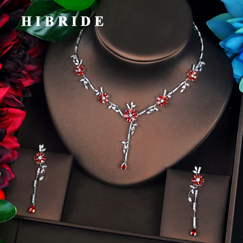 HIBRIDE New Cubic Zircon Flower Design Bridal Jewelry Sets For Women Wedding Accessories Bijoux Femme Ensemble N-697HIBRIDE New Cubic Zircon Flower Design Bridal Jewelry Sets For Women Wedding Accessories Bijoux Femme Ensemble N-697