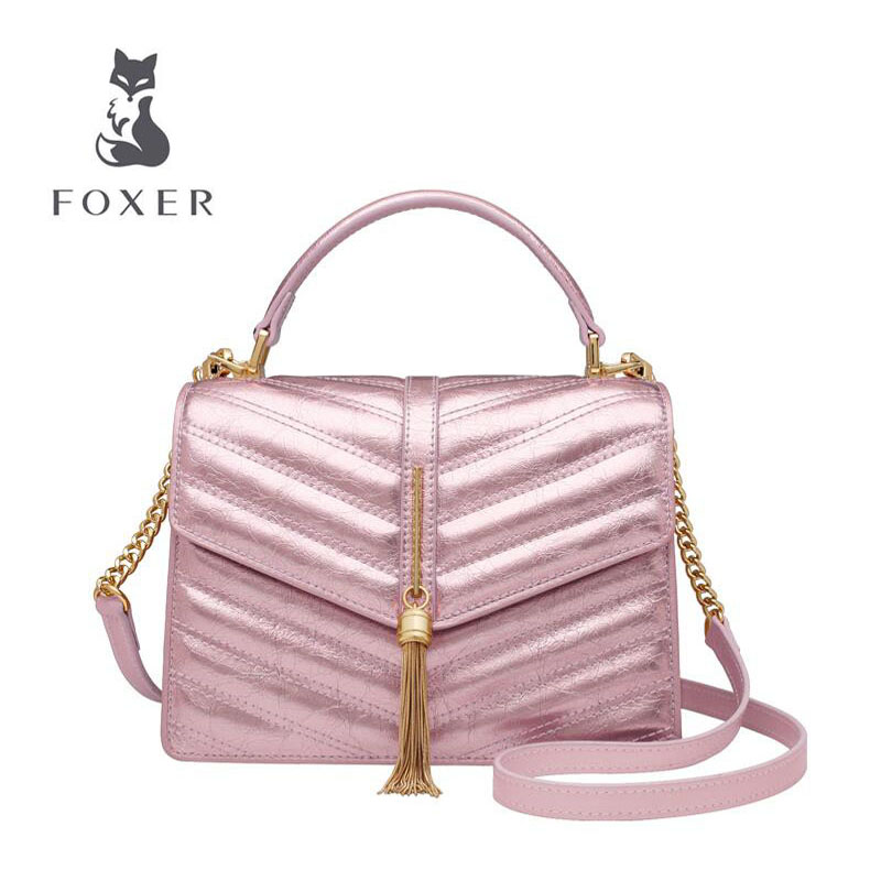 FOXER 2019 New women leather bag luxury handbags designer tote bag leather handbags fashion tassel women leather shoulder bagFOXER 2019 New women leather bag luxury handbags designer tote bag leather handbags fashion tassel women leather shoulder bag