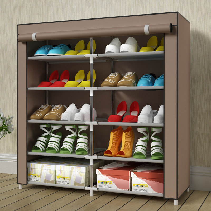 5-layer-10-grid Non-woven fabrics large shoe rack organizer removable shoe storage for home furniture shoe cabinet 12 grid diy assemble folding cloth non woven shoe cabinet furniture storage home shelf for living room doorway shoe rack