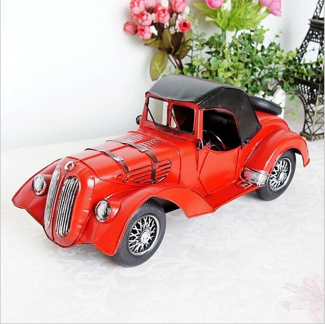 Red vintage classic car model metal adornment handicrafts store cabinet decorative ornament souvenir 34.5 * 13.5 * 16cm