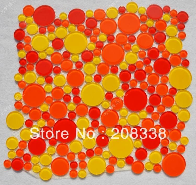 Crystal glass mosaic background wall multi colored circle red wall tile round mosaic|tiles wall|mosaic wall|glass wall - title=