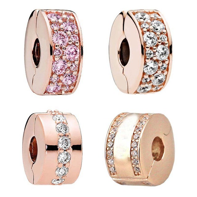 f5d834a5a Rose Gold Clear & Pink Shining Elegance Path Logo Spacer Lock Clip Beads  Fit Pandora Bracelet