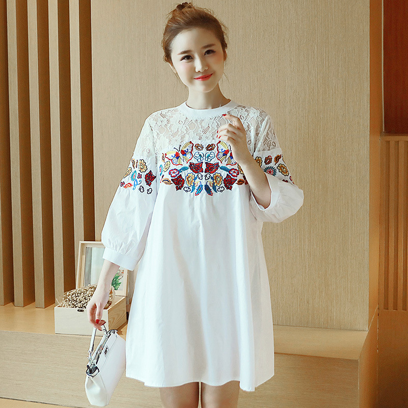 Summer Embroidery Dresses For Pregnant Women Loose Large Size Maternity Clothing High Waist Half-sleeved Lace Maternity Dress