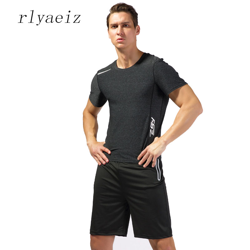 Rlyaeiz Brand New Fast Drying Set Men Tracksuit 2018 Summer Casual Tshirts + Shorts Two Piece Fitness Male Sporting Suit XXXL