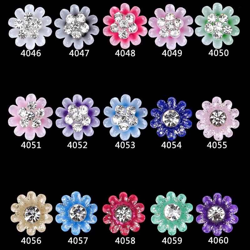 4046-4060 NEW Vindo 100 pcs glitter Acrílico flores grandes strass encantos da arte do prego para unhas decorações suprimentos