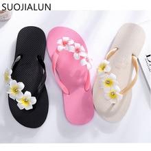 SUOJIALUN Women Slippers Summer Beach Sandal Fashion Flower Anti-skid Outdoor Slides Flip Flops Ladies Shoe