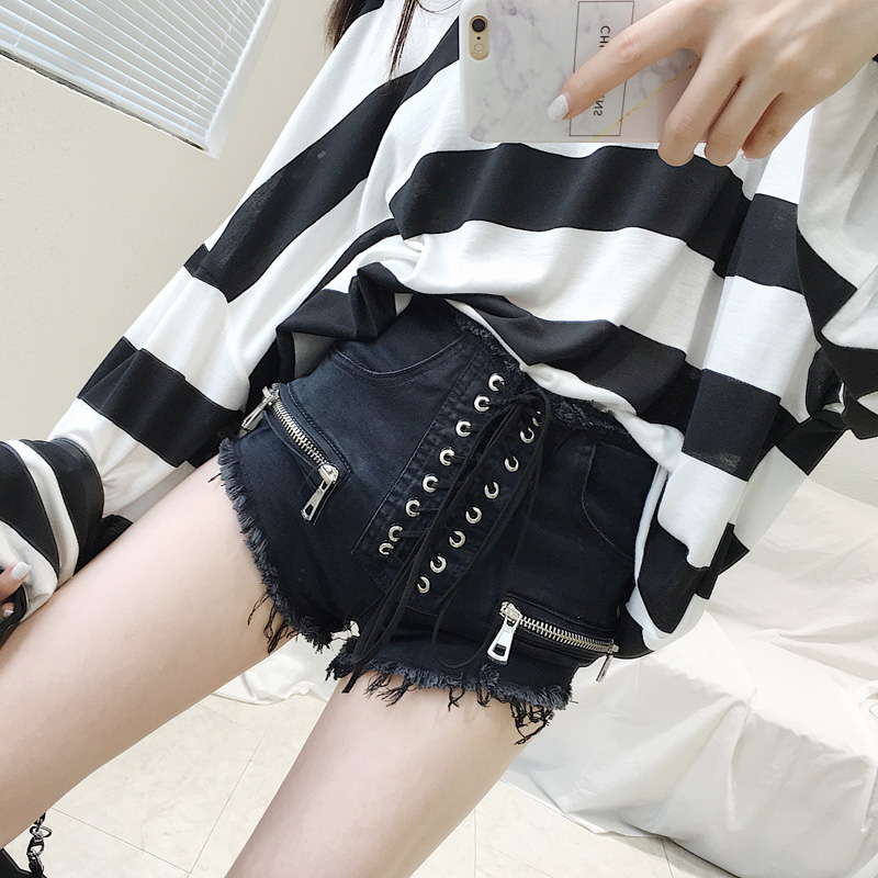 Sexy summer S M L women denim black ripped   short   jeans high waisted tassel elastic lace up bandage   shorts   hotpants