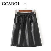 Women New Arrival 2 Pockets PU Skirt Elastic Waist A Line Black OL Elegant Skirt Faux