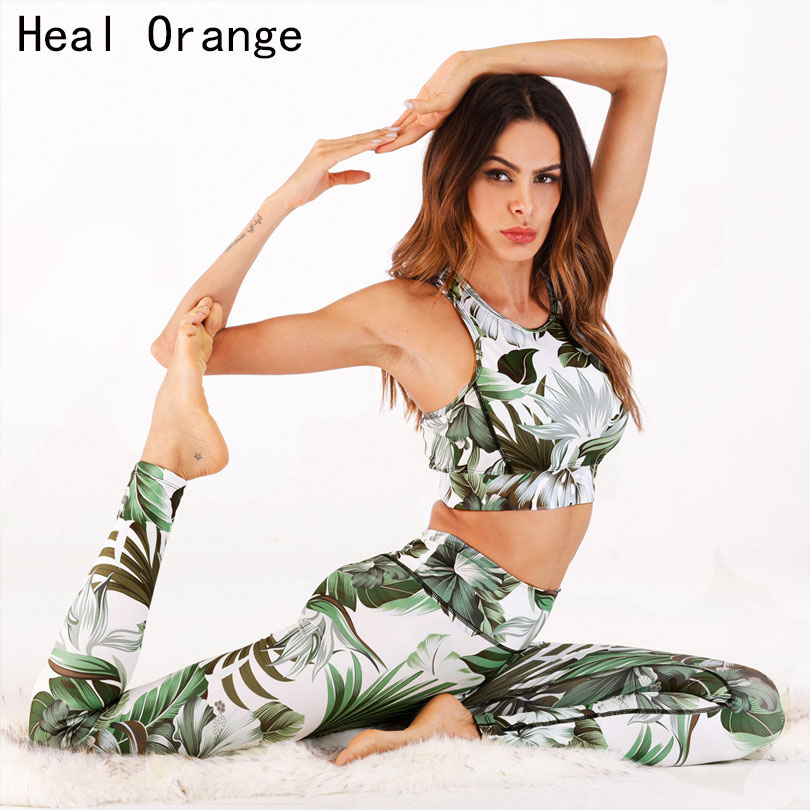Flowers Printing Tracksuit Yoga Sets Fitness Top Sport Suit Women Gym Woman Fitness Sets Yoga Overalls Bodysuit Gym Clothing 2 pcs tights wicking running set women vest and pants sport suit training tank top fitness gym polyester tracksuit yoga sets