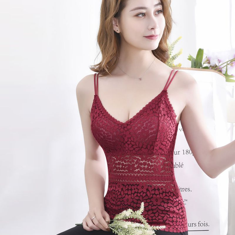 Sexy Lace Floral Vest Wireless Bralette Seamless Deep V-Neck Lace Women Padded Crochet Tank Tops