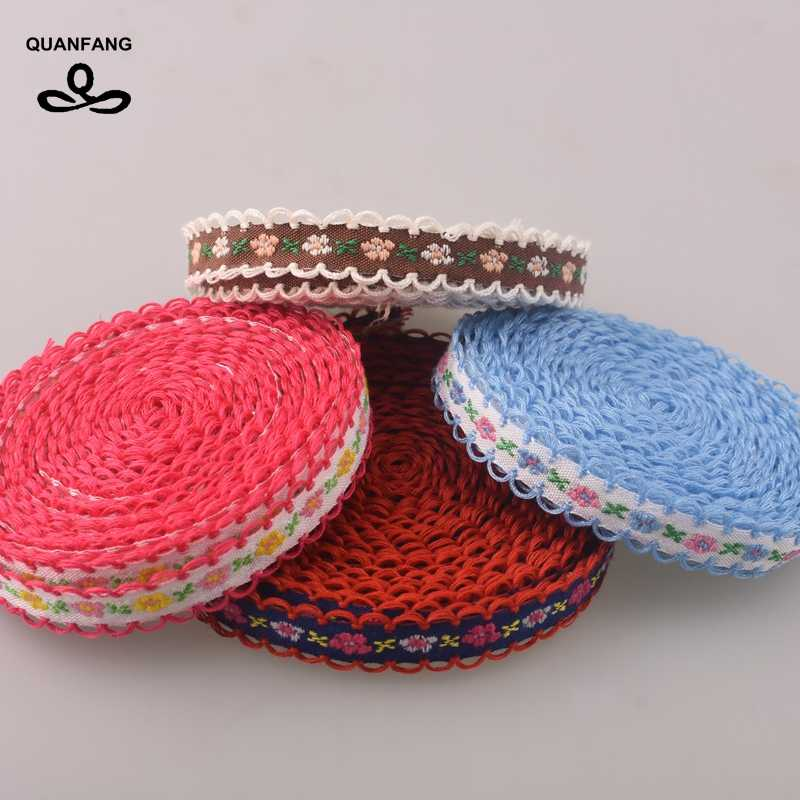 10mm Single Face Grosgrain Satin Embroidered Lace Ribbon Hemming Wrapping Decoration DIY Gift Craft Packing Hair Accessories