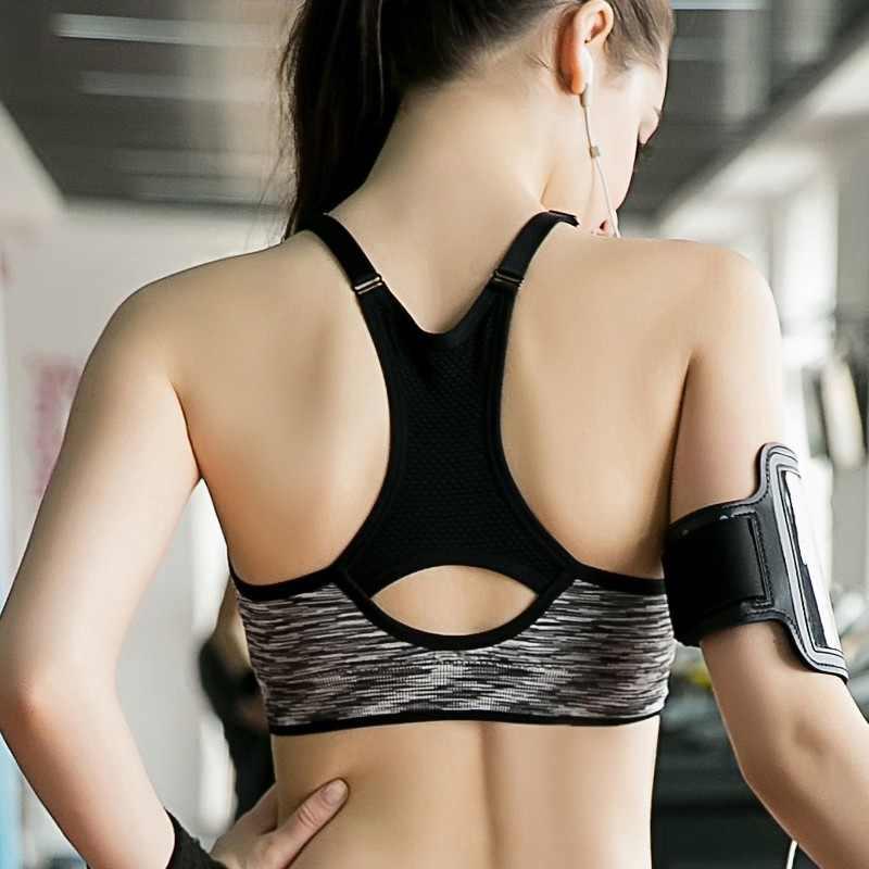 f5d55af0e72 Fitness Bras Women Spaghetti Straps Padded Push Up Bras Women Back Hollow  Crop Tops Seamless Shake Proof Underwear Tennis Vest