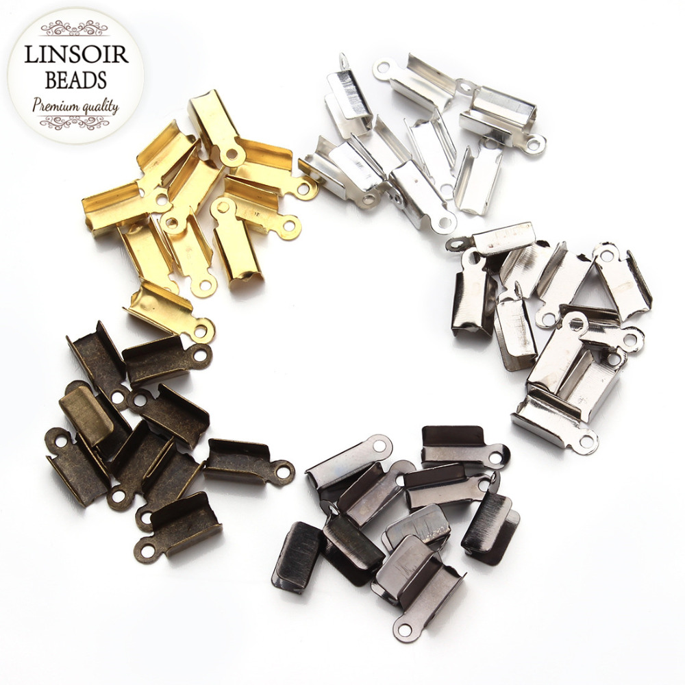 LINSOIR 200pcs/lot Leather Cord End Caps End Clasps Crimp Beads Silver/Gold/Antique Bronze Color Connectors for Jewelry Making 200pcs lot 2sa950 y 2sa950 a950 to 92 transistors
