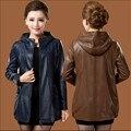 Женщины Кожаные Куртки Плюс Размер L-6Xl Подлинной Зимние Кожаные Куртки Блестками С Капюшоном Женщин Кожаные Пальто Осень A2558