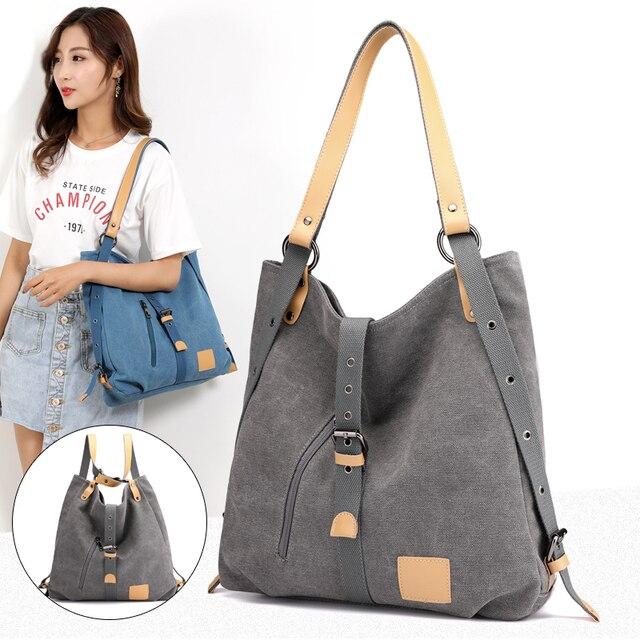 Women Fashion Casual canvas Tote Handbag Multifunctional Female Bag High Quality Shoulder Bag