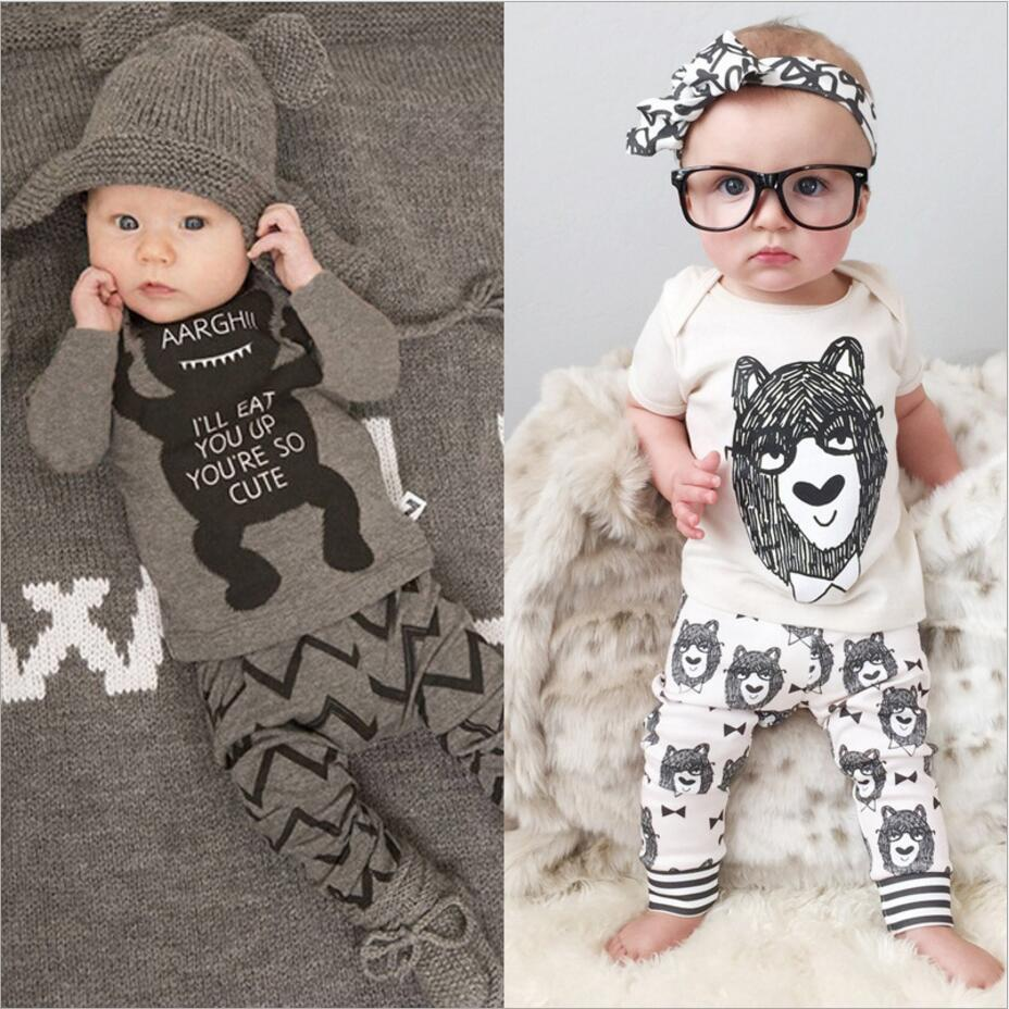 2018 Summer children's clothing style baby clothing set boy little monsters Long sleeve 2 piece. Boys Clothes retail monsters of folk monsters of folk monsters of folk