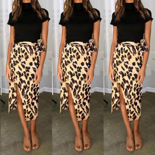 Fashion Women Chiffon High Waist Summer Beach Long Maxi Skirts Leopard Split Leopard Print Skirt