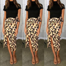 Fashion Women Chiffon High Waist Summer Beach Long Maxi Skirts Leopard Split Leopard Print Skirt(China)