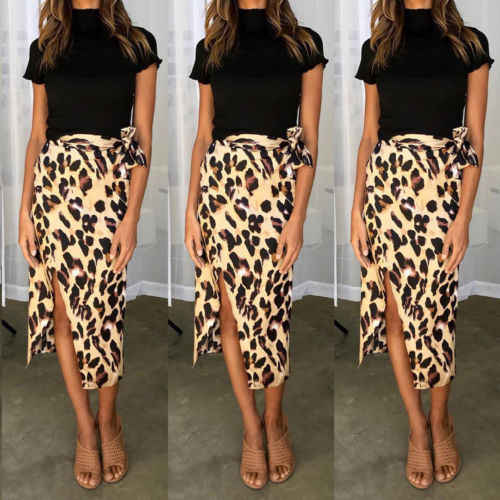 Fashion Women Chiffon High Waist Summer Beach Long Maxi Skirts Leopard  Split Leopard Print Skirt 02bc09930