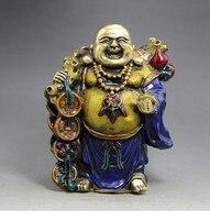 TNUKK Antique bronze Maitreya Buddha statue enamel color process lucky draw brass Buddha Buddha Maitreya Cloisonne ornaments