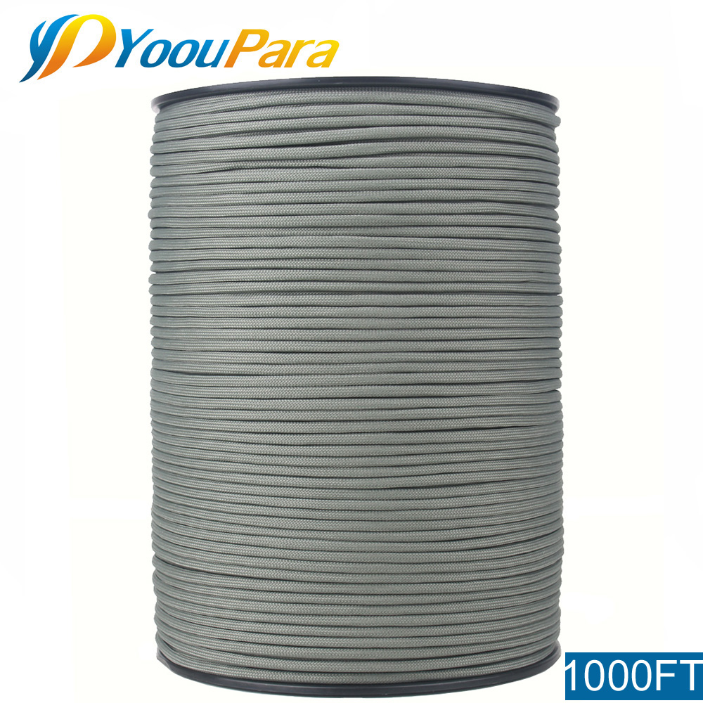 "YoouPara 1000FT 550 Paracord Cord Type III 7 Strand 5/32"" (4mm) Diameter Nylon Military Survival Cordage Wholesal"