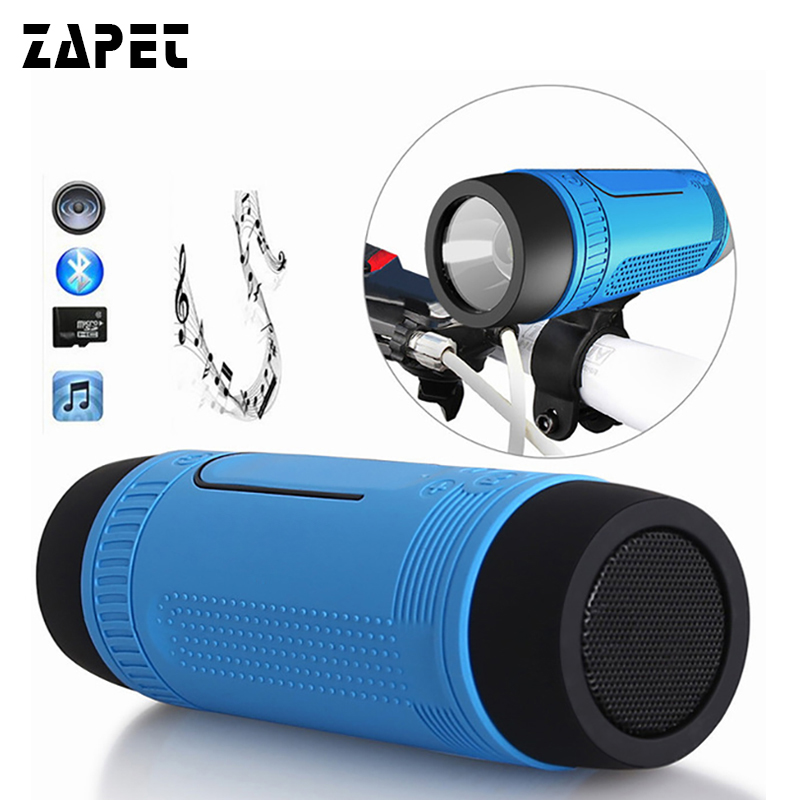 ZAPET S1 Waterproof Bluetooth Speaker Wireless Portable Outdoor Speakers LED Flashlight Altavoces Support FM Radio TF Card Slot