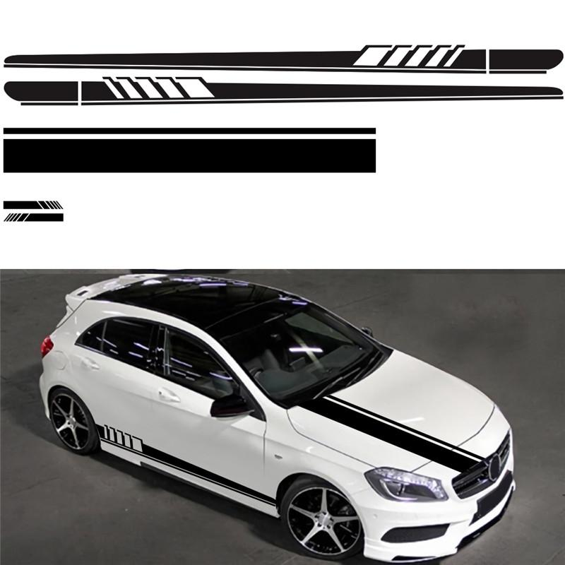 5PCS/Set Car Stickers Stripe Auto Car Body Stripe Sticker Decals Vinyl Head/Cover Rearview Mirror Side Stripe Stickers