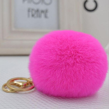 Real Rex Rabbit Fur Pom Pom Keychian Fur Balls Keyrings 8 Cm PomPon Key Chain  For Car Bag Key Chains Pendant Accessories