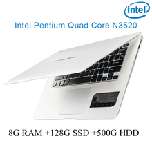 "P1-01 white 8G RAM 128G SSD 500G HDD Intel Pentium N3520 14"" laptop notebook keyboard and OS language available for choose"