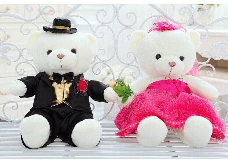 9a314192aaf13 Une paire ours, sur 60 cm costume noir et rose rouge dentelle robe de  mariage ours jouets, cadeau de mariage t6805