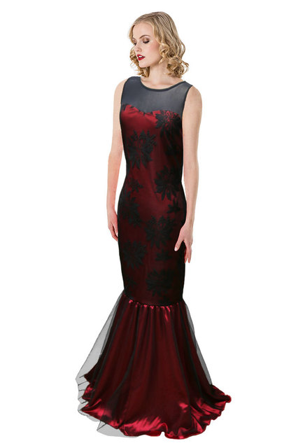 Women Floor-Length Formal Party Trumpet Dress Long Robe Gowm Sleeveless  Back Keyhole Lace Floral cc312e183514
